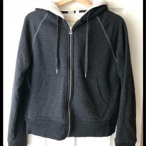 Cozy, Sherpa-lined hoodie
